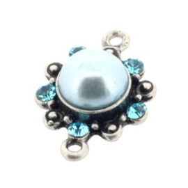 ornament parel/strass aquamarine 23 x 16mm p/6