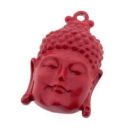 Decoratieve hanger buddha klein gesloten ogen rood 33 x 20mm p/3