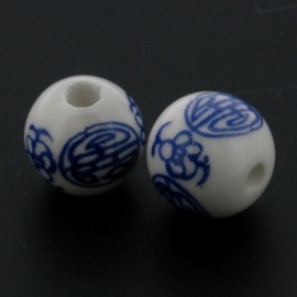 kraal keramiek 12 mm Delft blauw p/25