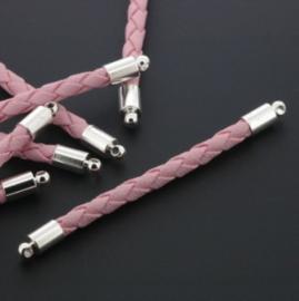tussenzetsel kunstleer gevlochten 50mm roze p/12