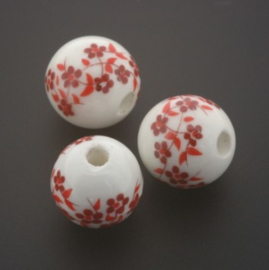 kraal keramiek 12 mm bloem Rotterdams rood p/25
