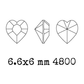 4800 Fancy Stone heart 6.6 x 6 mm rose AB F (209 AB) p/6