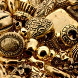 kunststof kralenmix metal look AG 350 gram