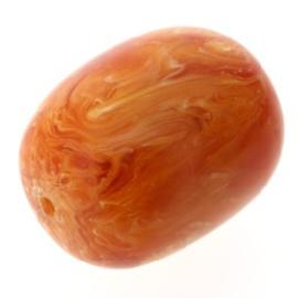 kraal kunststof groot ovaal amber 35x28 mm p/2