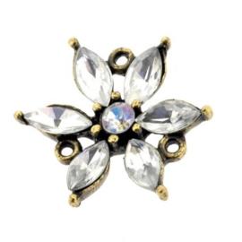 ornament bloem strass met 3 ogen crystal MAG 20 x 20 mm p/4