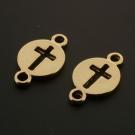 Hanger / bedel 2 ogen circle/kruis Rose Gold +3Mils p/10