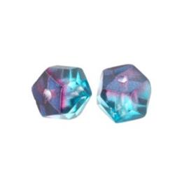 glaskraal rondell 6 x 9 mm fuchsia/blauw p/20