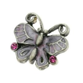 onderdeel vlinder epoxy/strass stenen roze 13 x 15mm p/6