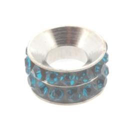 strassrondell 6x10mm NPL / blue zircon  grootgaats (5mm) p/12