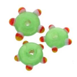 glaskraal plat met spikkels 12x5 mm groen p/25