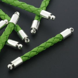 tussenzetsel kunstleer gevlochten 35mm groen p/12