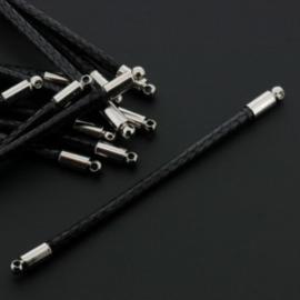 tussenzetsel 58mm soft waxkoord 2mm zwart p/12