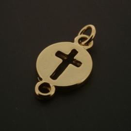 Hanger / bedel 2 ogen circle/kruis GPL+5Mils p/10