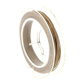 staaldraad 0.38mm nyloncoated goud p/10 mtr p/5 rolletjes