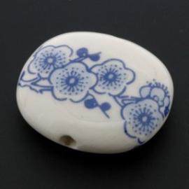 kraal keramiek 31 x 27 mm bloemen p/12