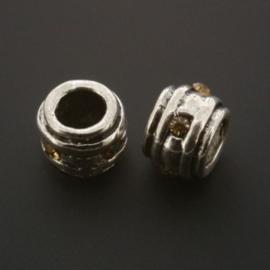 kraal metaal AS grootgaats strass topaz 7x9mm p/12