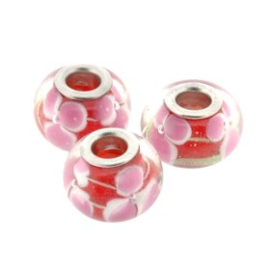 glaskraal 14 mm metalen kern (4mm) rood roze bloem p/12