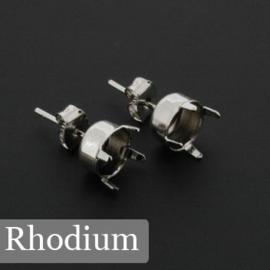 DQ oorsteker ss39 Rhodium met STS 430 nickel-free pin met oog p/5 paar
