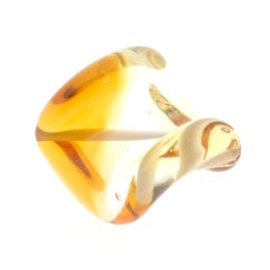 glaskraal twist 25 x 20 mm handgemaakt topaz