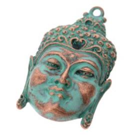 Decoratieve hanger buddha open ogen MAC Turquoise 50 x 30mm p/2