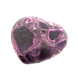 kraal composiet stenen hart paars  20 x 20 mm) p/10