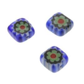 glaskraal Millefiori blauw 6x6mm p/50
