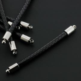 tussenzetsel 58mm soft waxkoord 4mm zwart p/12