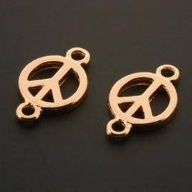 hanger / bedel 2 ogen Peace sign / vredesteken Rose Gold+3Mils p/12