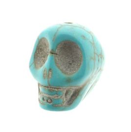 kraal stenen doodskopje turquoise (howlite) 18 x 14 mm p/12