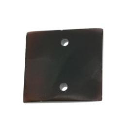 tussenzetsel schelp vierkant 2 gaatjes 17 x 17 mm donker naturel  p/10