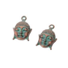 Decoratieve hanger buddha klein 2 ogen Mac turquoise 22 x 12 mm p/10