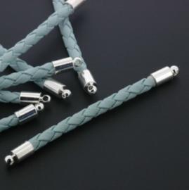 tussenzetsel kunstleer gevlochten 50mm turquoise p/12