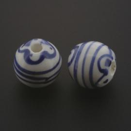 kraal keramiek 12 mm Delft blauw p/50