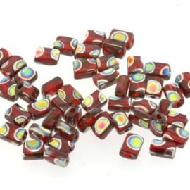 glaskraal mini rechthoek 5 x 3.5 mm rood p/50 gram
