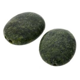 kraal steen ovaal 25 x 19 mm legergroen p/6