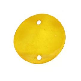 tussenzetsel schelp rond 2 gaatjes 18 mm geel  p/10