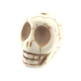 kraal stenen doodskopje wit (howlite) 18 x 14 mm p/12