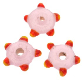 glaskraal plat met spikkels 12x5 mm roze p/25