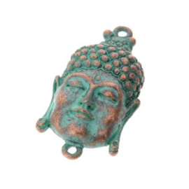 Decoratieve hanger buddha klein gesloten ogen MAC turquoise 33 x 20mm p/3