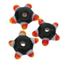 glaskraal plat met spikkels 12x5 mm zwart p/25