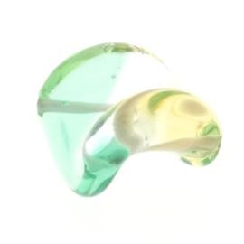 glaskraal twist 25 x 20 mm handgemaakt licht groen