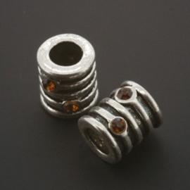 kraal metaal AS grootgaats strass smoked topaz 9x8mm p/12