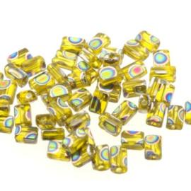 glaskraal mini rechthoek 5 x 3.5 mm groen p/50 gram