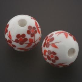 kraal keramiek 16 mm bloem Rotterdams rood p/25