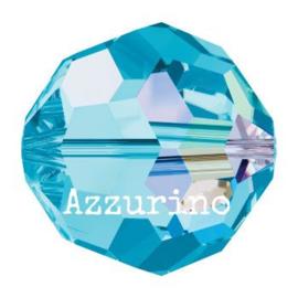 5000 kraal rond facet 8 mm aquamarine AB (202 AB) p/12