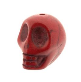 kraal stenen doodskopje rood (howlite) 18 x 14 mm p/12