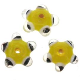 glaskraal plat met spikkels 12x5 mm geel p/25