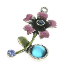 hanger bloem met epoxy aquamarine/light sapphire/montana 34 x 18mm p/4