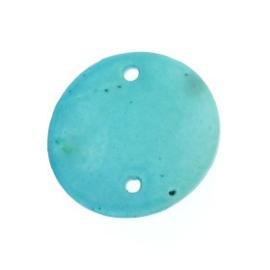 tussenzetsel schelp rond 2 gaatjes 18 mm turquoise  p/10