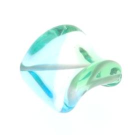 glaskraal twist 25 x 20 mm handgemaakt turquoise